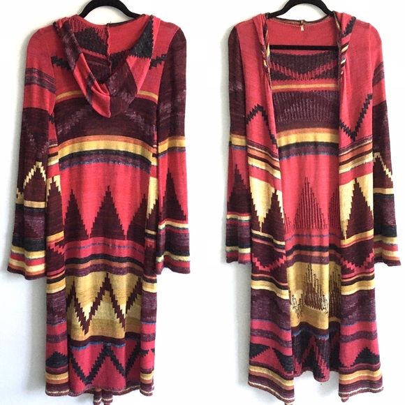 FREE PEOPLE Aztec Long Duster Sweater Open Front